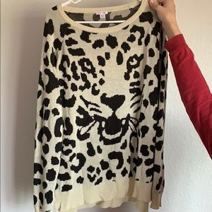 Black and cream leopard sweater